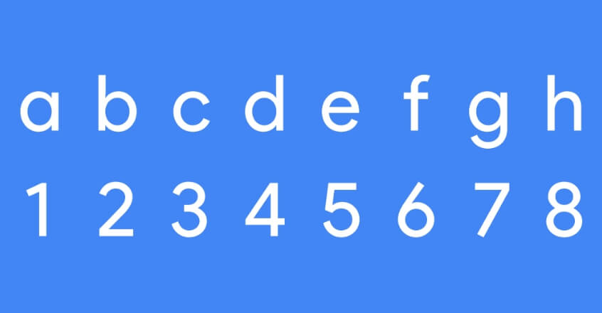 Google Product Sans letters and numbers